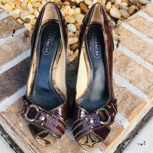 Coach Open Toe Patent Leather Brown Shoes